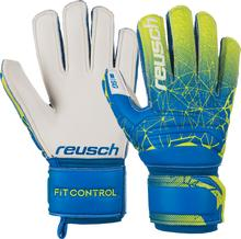 REUSCH JUNIOR FIT CONTROL SG FINGER SUPPORT GK GLOVES (BLUE/LIME)