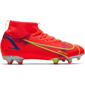 Nike Jr. Mercurial Superfly 8 Academy MG-BRIGHT CRIMSON/METALLIC SILVER
