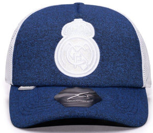 FI COLLECTION REAL MADRID DRIBBLING TRUCKER SNAPBACK HAT-NAVY/WHITE