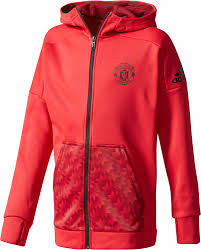 Adidas Youth Manchester United Full-Zip Hoodie - Red