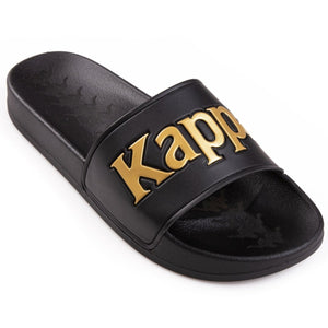 KAPPA 222 BANDA ADAM 9 SLIDES - BLACK YELLOW GOLD