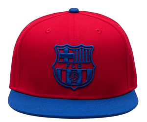 FI COLLECTION FC BARCELONA RETRO CAPSULE SNAPBACK HAT- SCARLET/CALMING BLUE