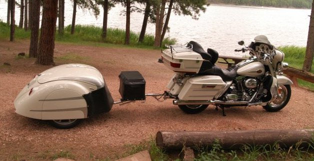 Custom Pull Behind Motorcycle Trailer to Match Colors on Harley Davidson Bike 2