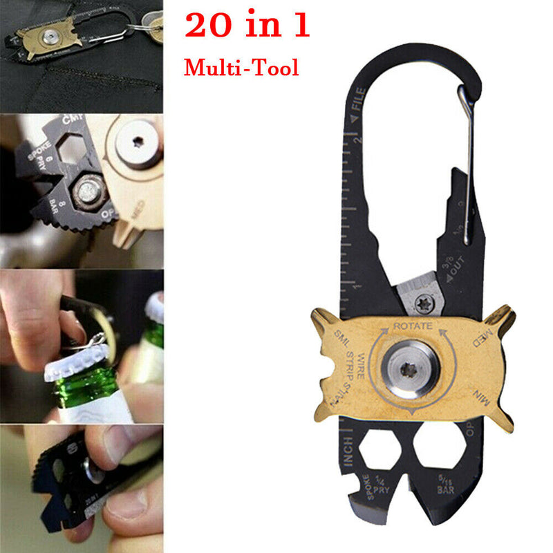 20 In 1 Stainless Steel Pocket Multi Tool Wrench Carabiner Keychain Keyring