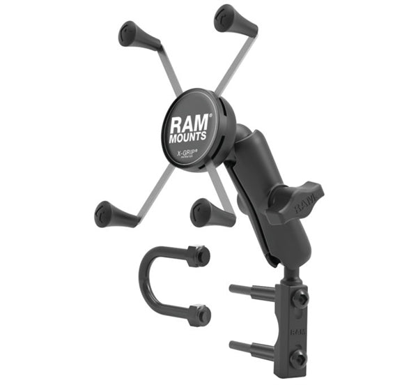 RAM Mounts Brake/Clutch Reservoir Mount with X-Grip Cradle; Large Phone Mount X-Grip; Brake/Clutch Reservoir Mount with Short Double Socket Arm