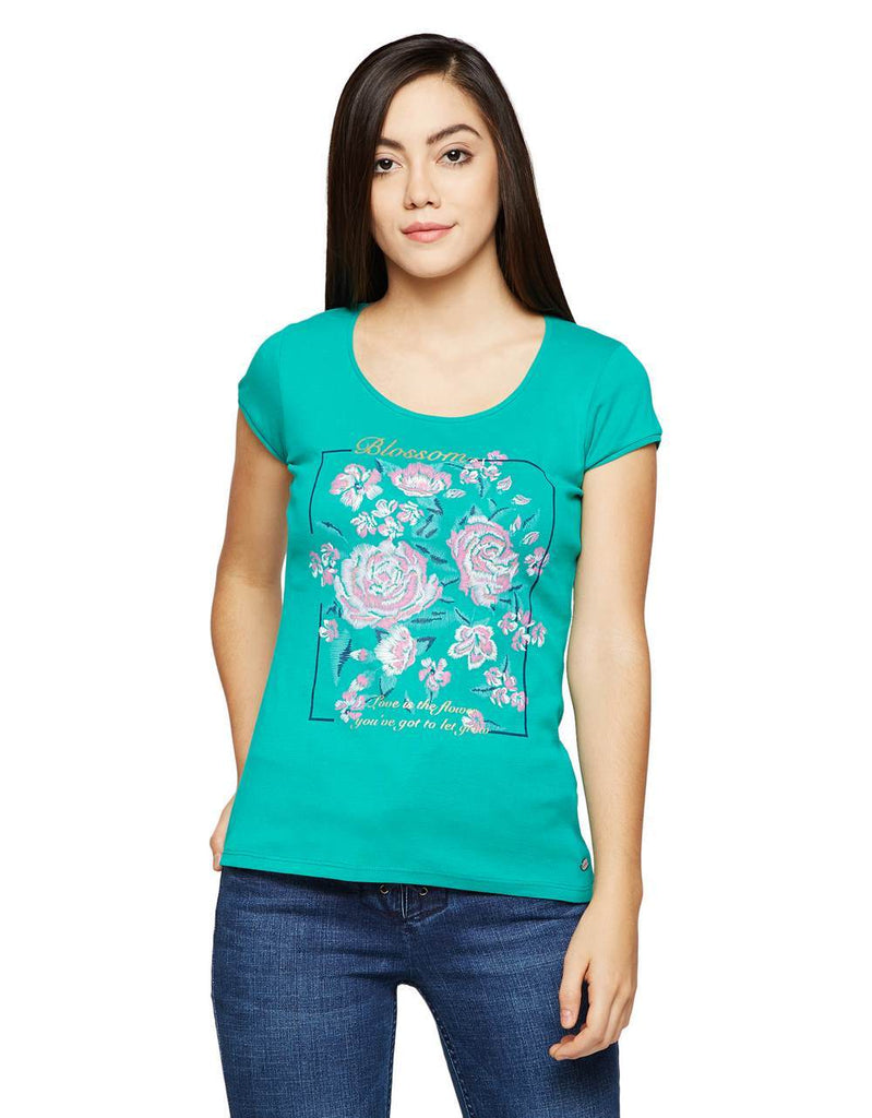 Madame Women Green Printed Top