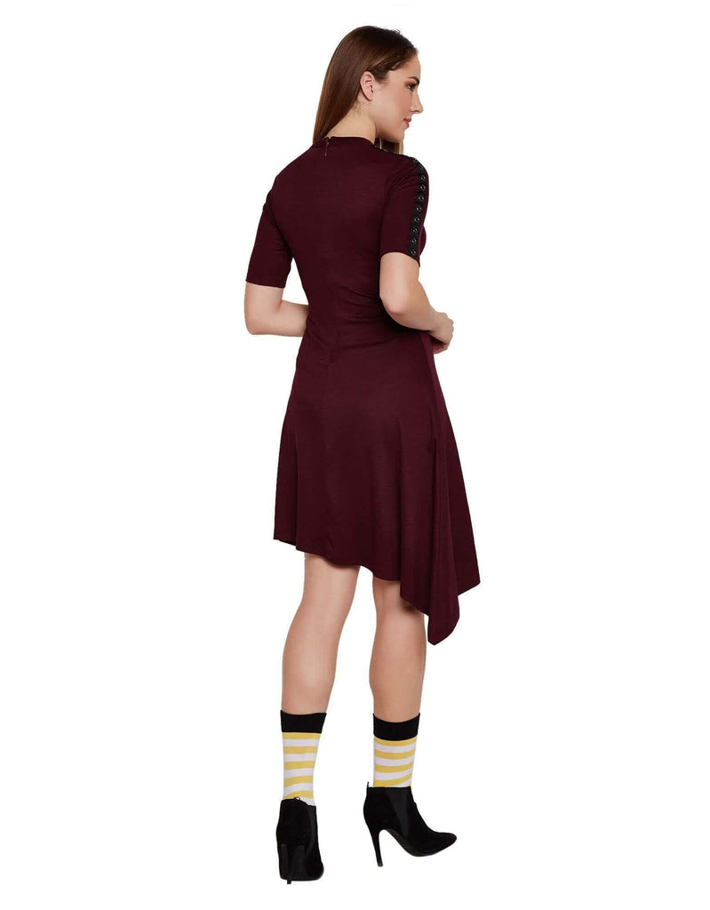 Burgundy Asymmetric Casual Dress