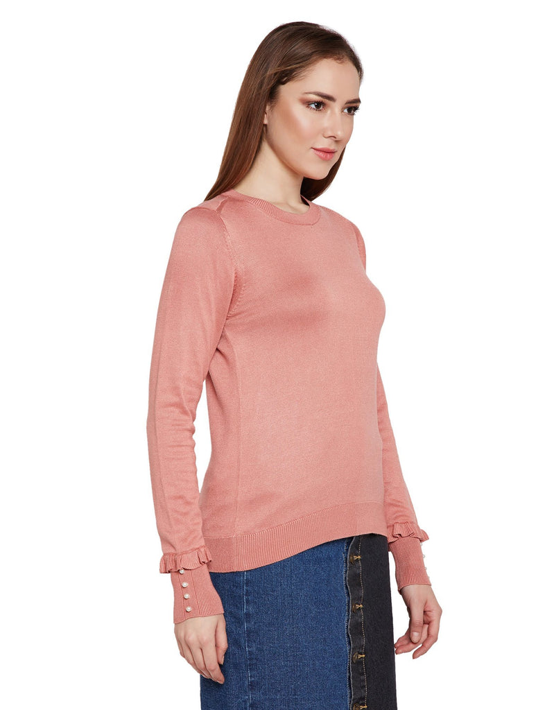 Pink Knitted Casual Sweater