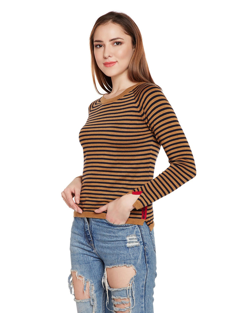 Tan Striped Casual Sweater