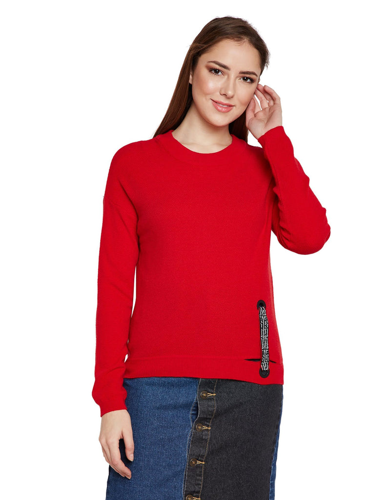 Red Round Neck Knitted Sweater