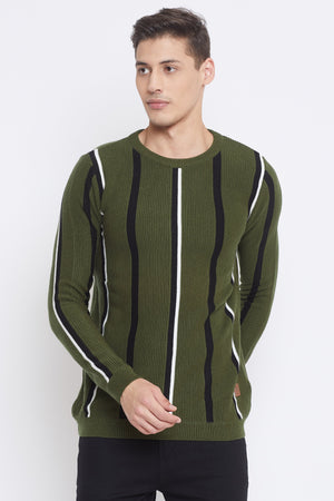 Camla Olive Color Sweater For Mens