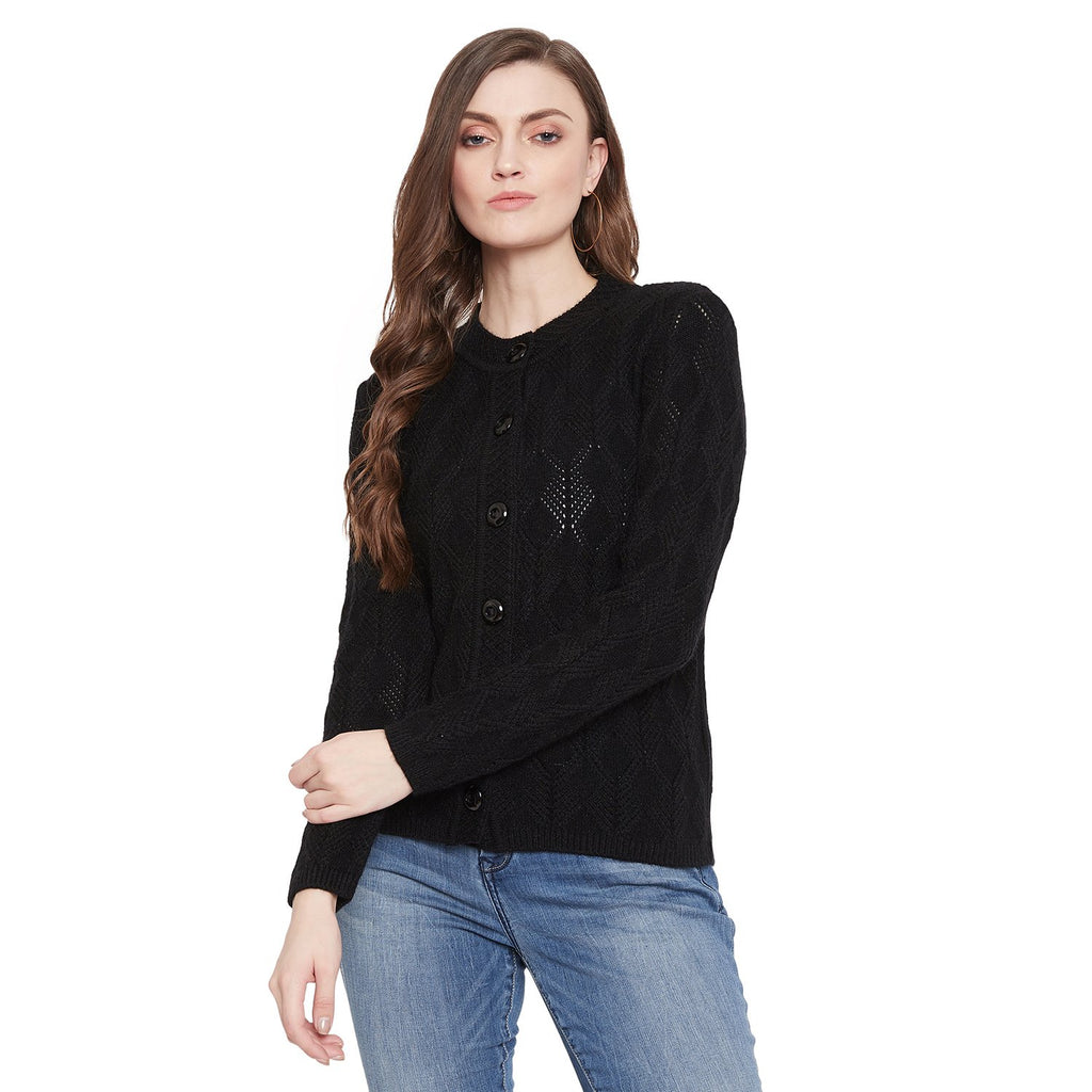 Madame Black Color Cardigan For Women