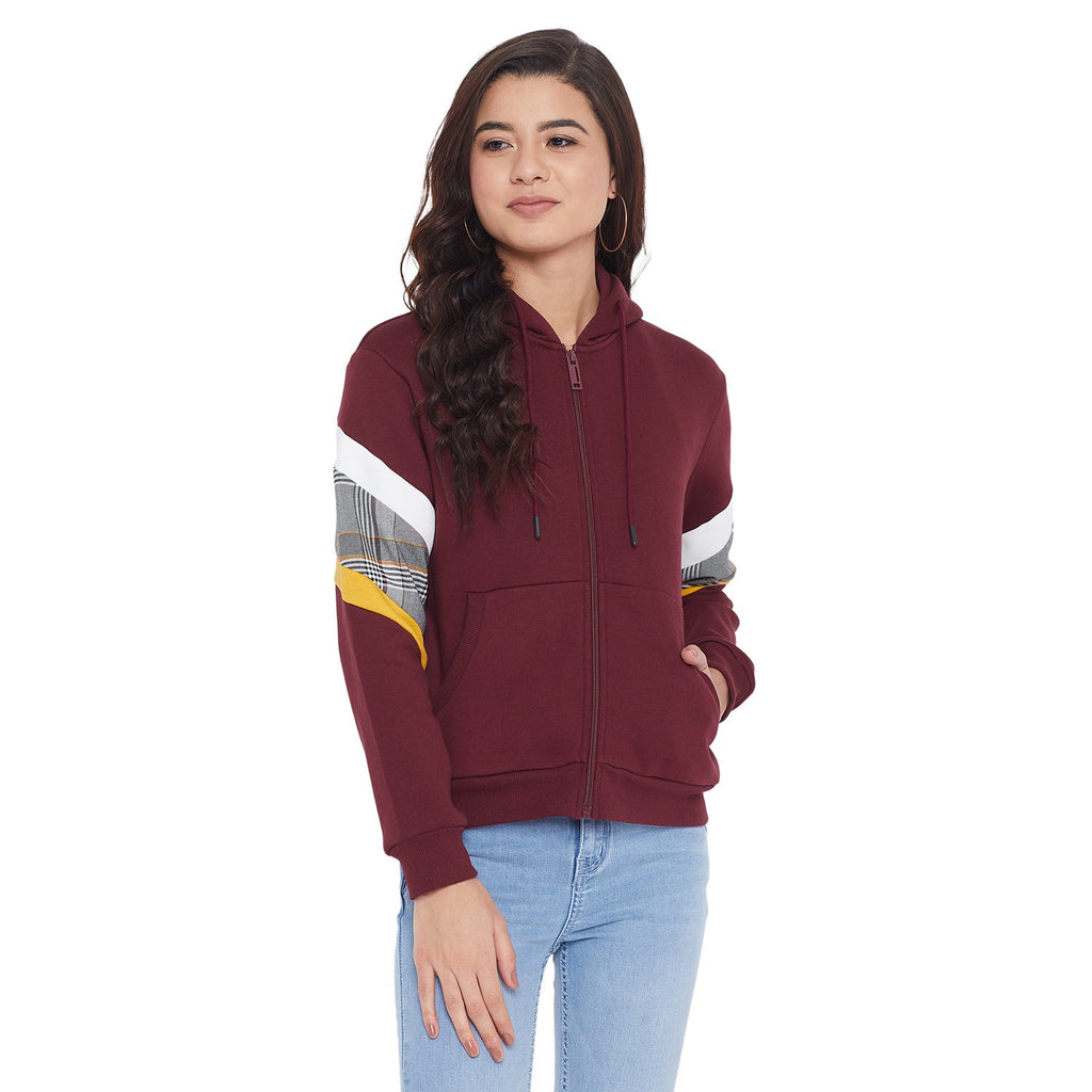 Camla Wine Color Sweatshirt For Women