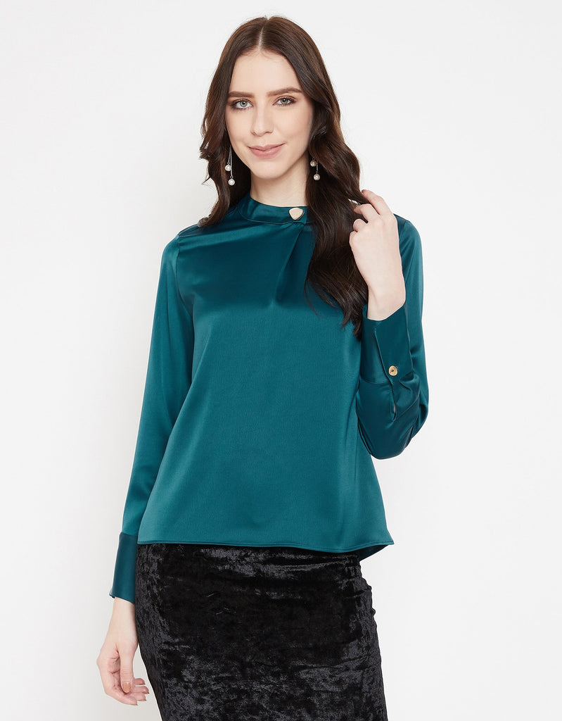 Madame Teal Textile Top For Women