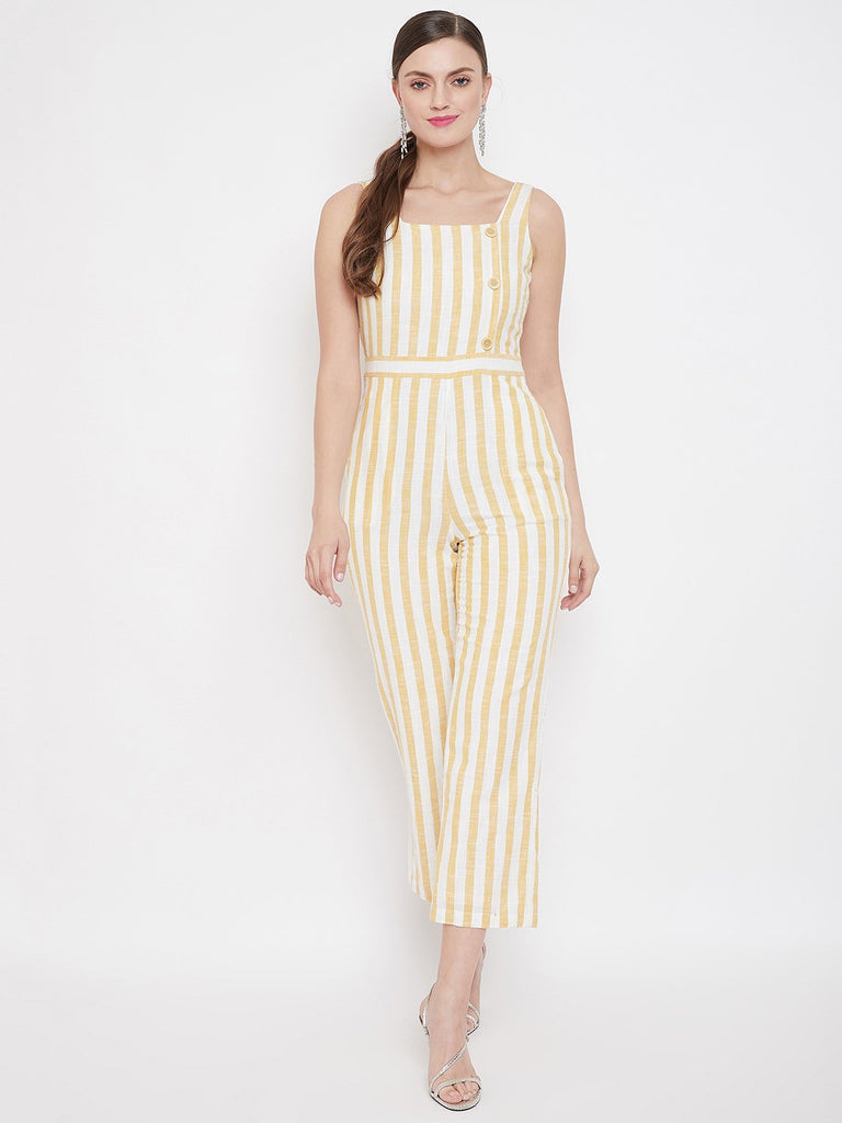 Madame Off White Color Jumpsuit For Women