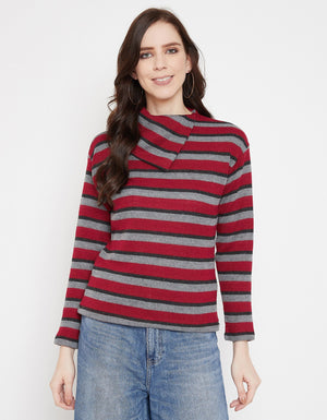 Madame Red Full Sleeve Top For Women