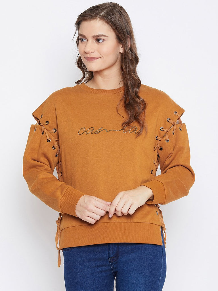 Camla Women Tan Sweat-Shirt