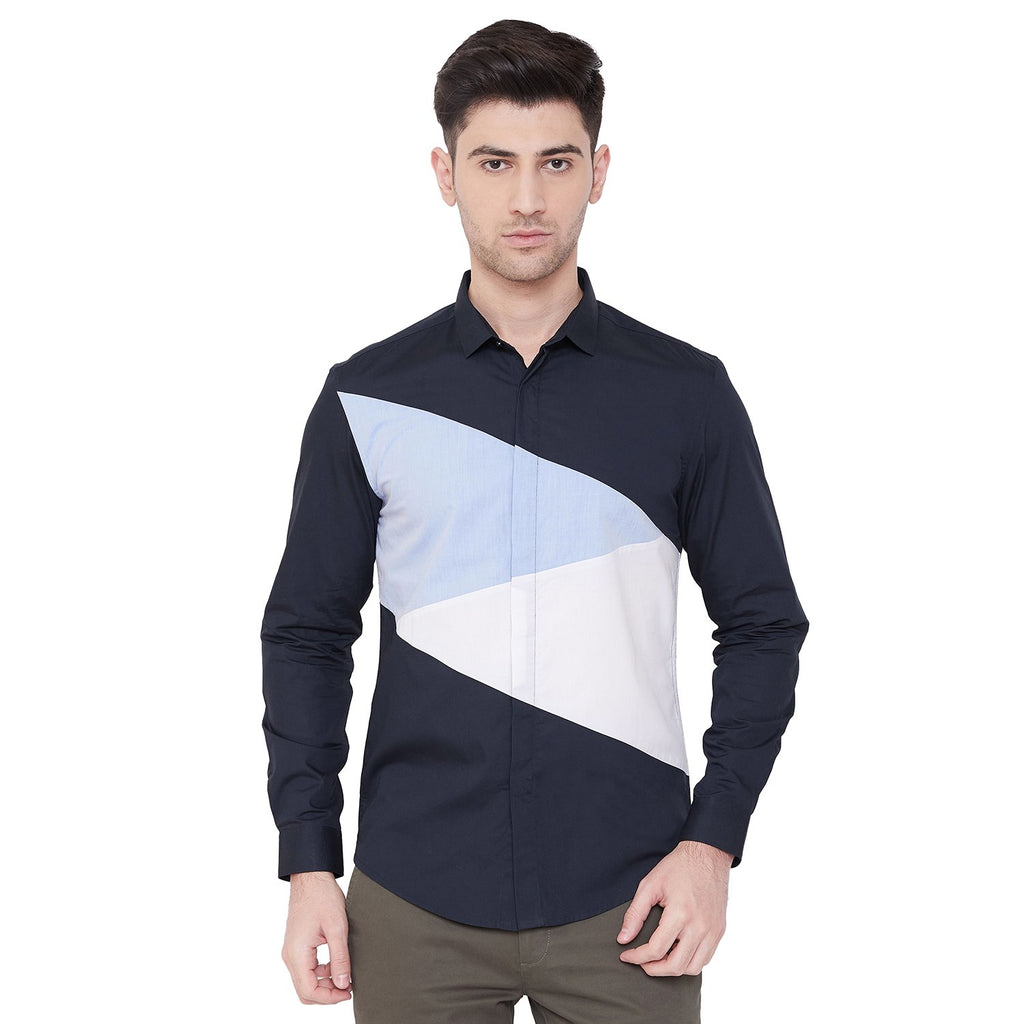 Camla Men Navy Casual Shirt