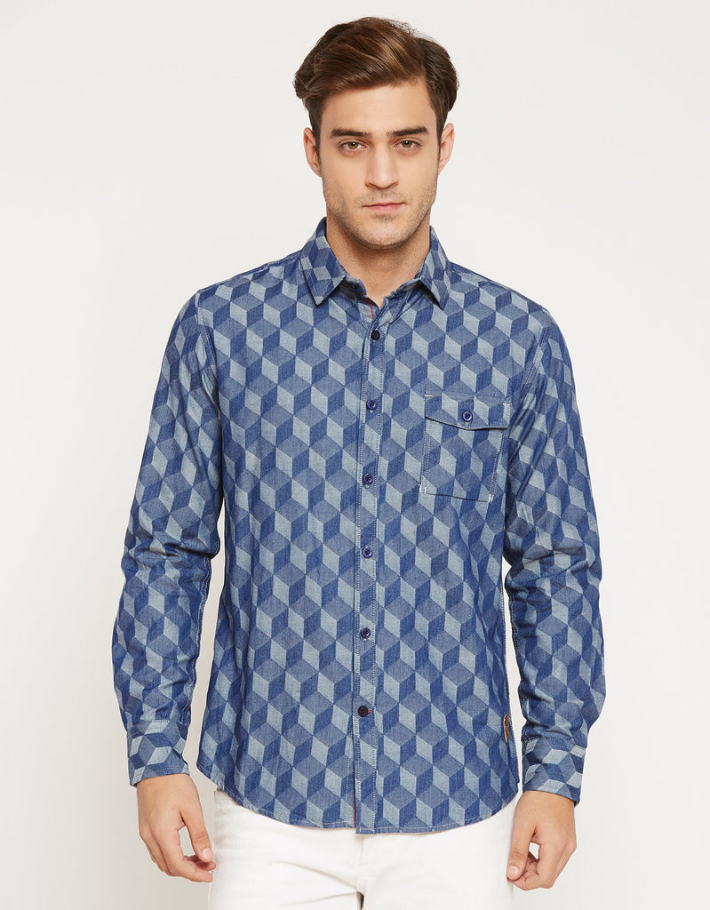 Blue Slim Fit Printed Shirt