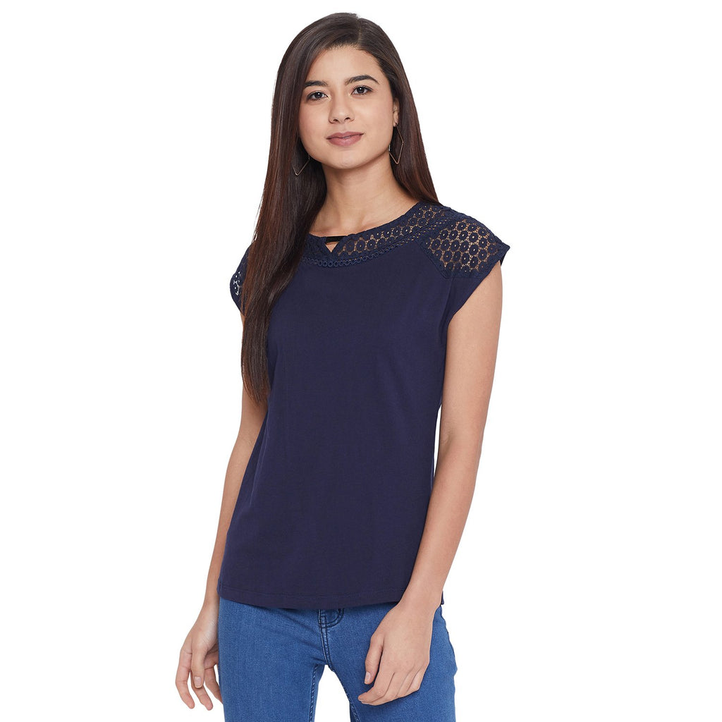 Opt Navy Color Top For Women