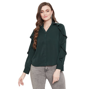 Madame Bottle Green Color Textile Top For Women