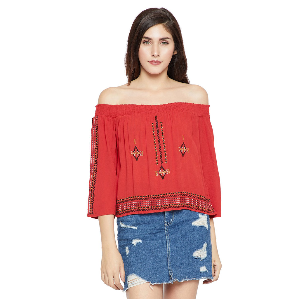 Red Embroidered Top