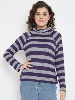 Madame Women PURPLE FULL SLEEVE TOP