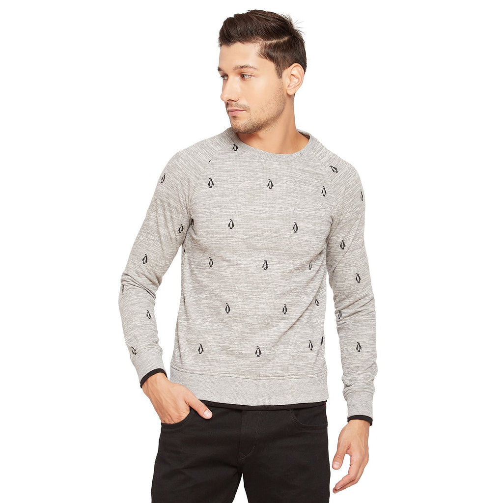 Camla Men Round Neck Embroidered Sweatshirt