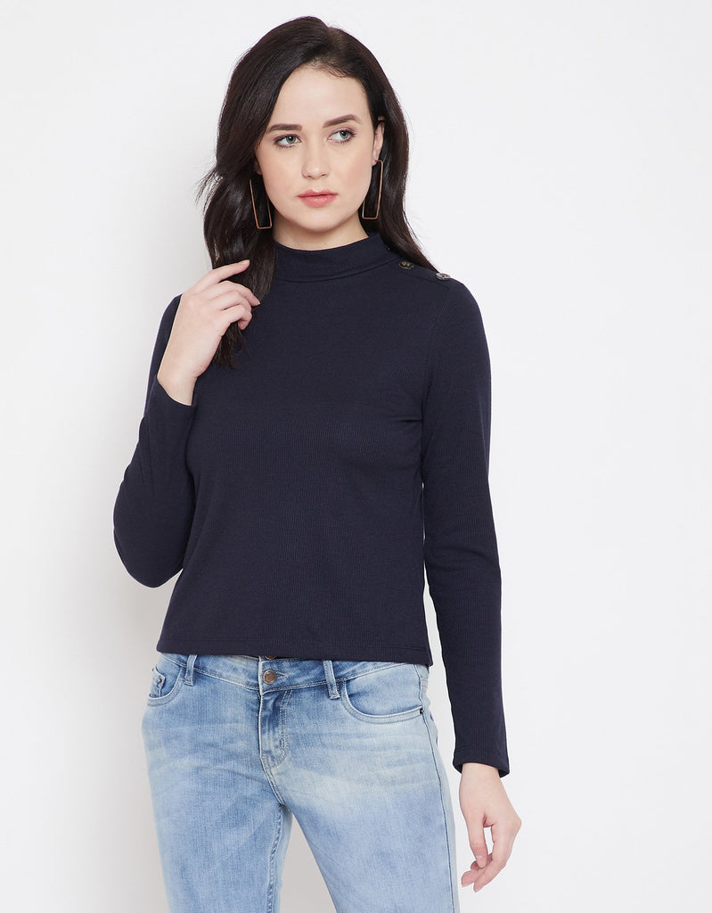 Madame Navy Full Sleeve Top For Women