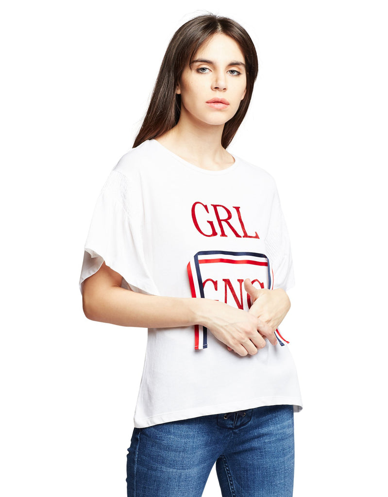 Off White Graphic Printed Top