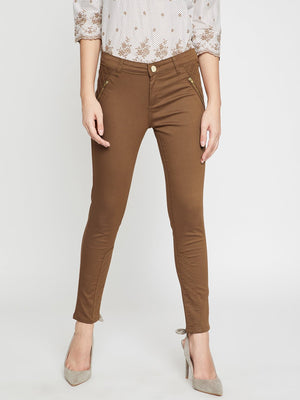 Tan Solid Regular Fit Trouser