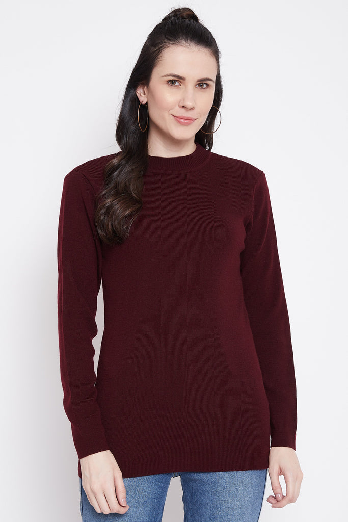 Madame Wine Color Sweater For Women