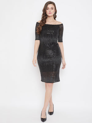Madame Black Color Dress For Women