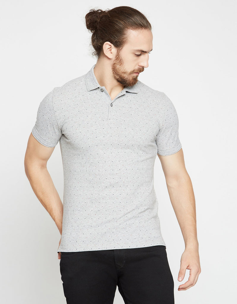 Grey Printed Regular Fit Polo T-Shirt