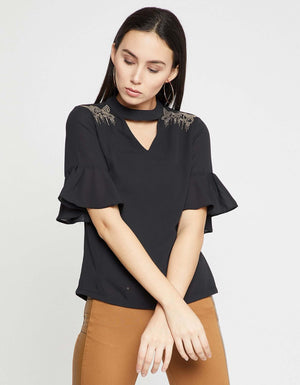 Black Embellished Casual Top