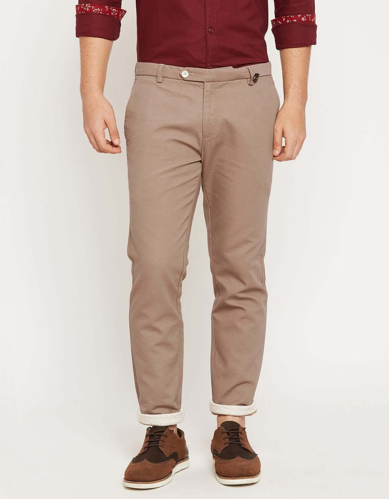 CAMLA Men Beige Regular Fit Solid Trousers