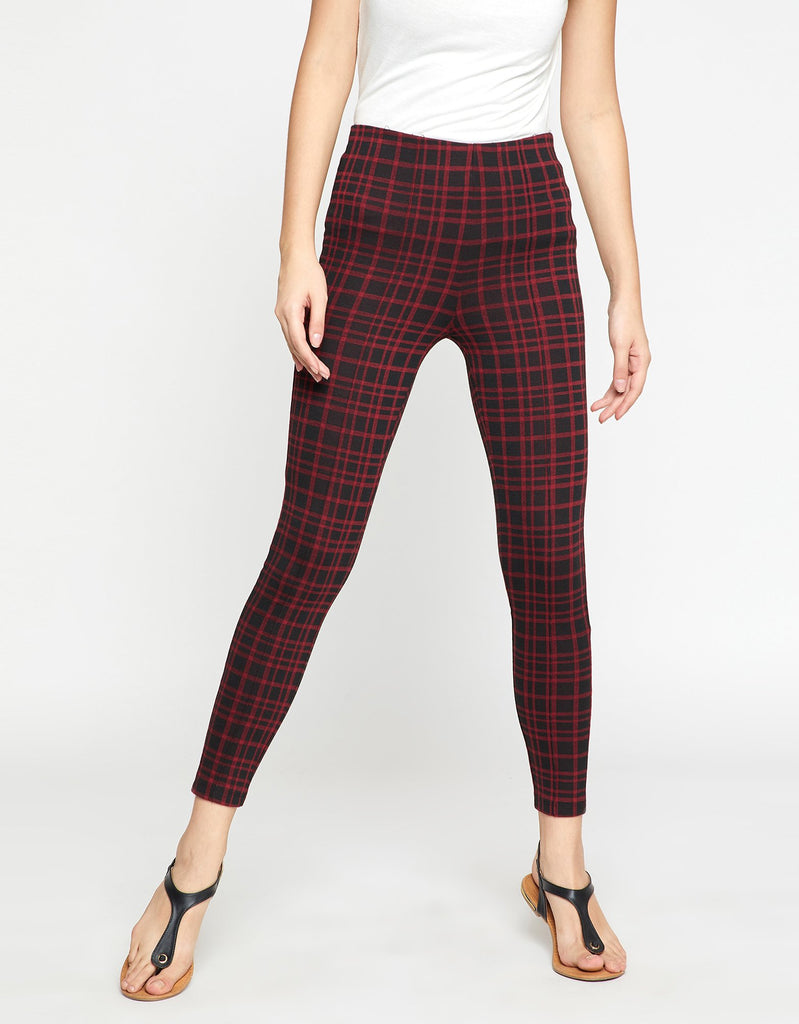 Maroon Checkered Casual Trouser