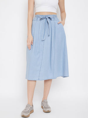 Madame Denim Ice Blue Color Skirt For Women