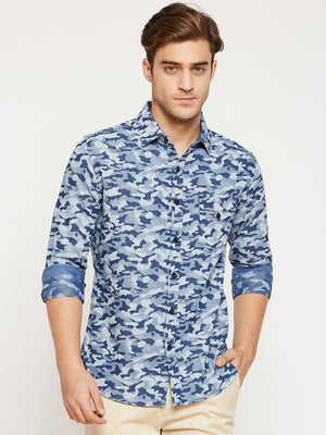 CAMLA Men Blue Slim Fit Camouflage Pattern Casual Shirt-2XL-Blue