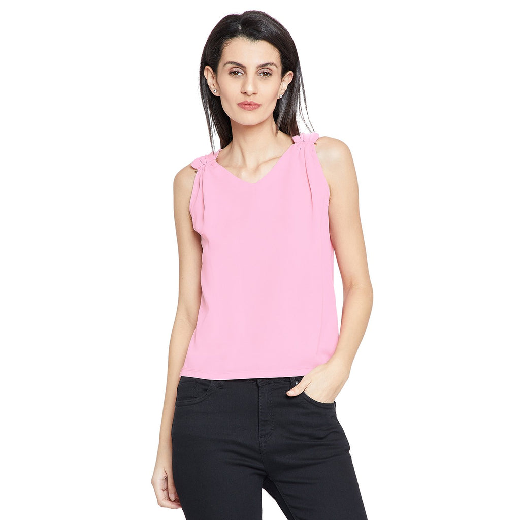 Pink Casual Solid Top