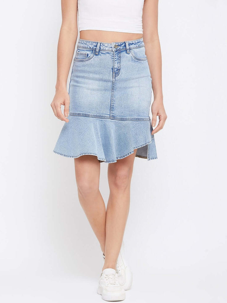 Camla Blue Color Skirt For Women