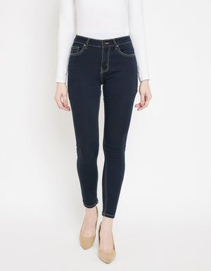Dark Blue Color Denim Jeans For Women