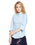 Madame Blue Casual Solid Shirt