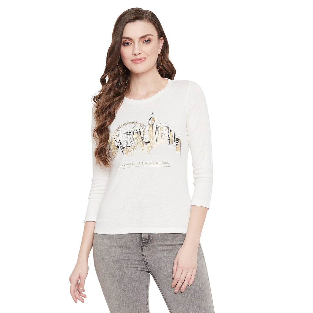 Madame White Color Top F/S For Women