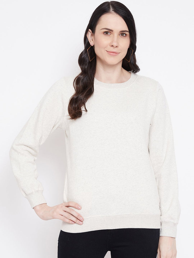 Madame Ecru  Color Sweatshirt For Women