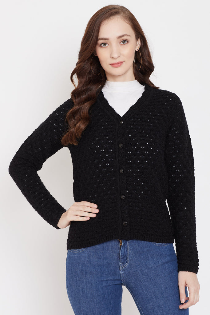 Madame Black Color Cardigans For Women