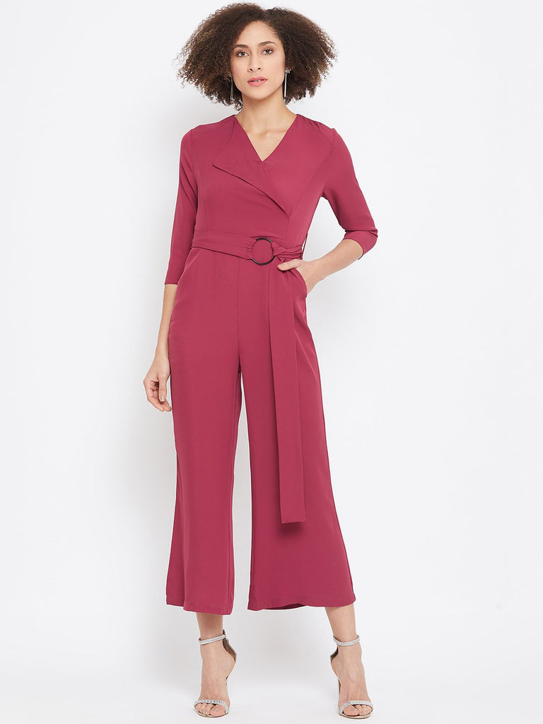 Madame Wine Color Jumpsuit For Women