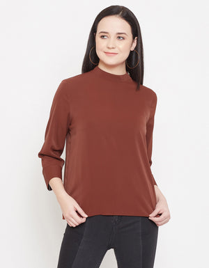 Madame Women BROWN TEXTILE TOP
