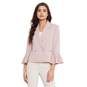 Madame Dusty Pink Color Blazer For Women