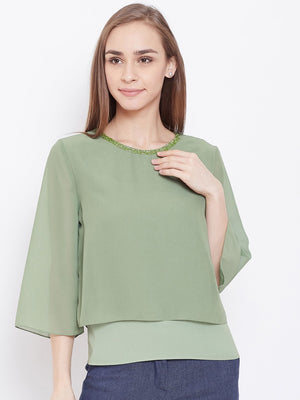 Madame Green Color Top  For Women